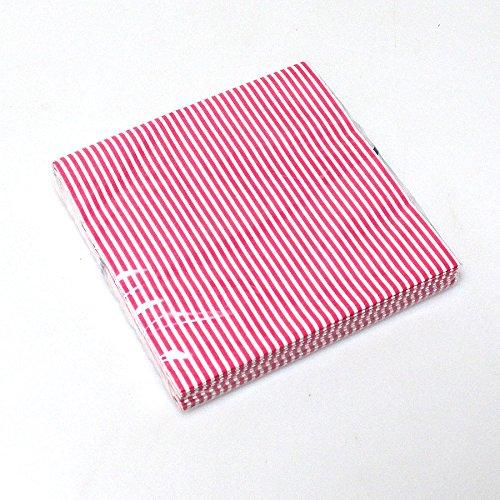 N/A 20 Servietten Streifen gestreift 3-lagig 33x33cm Papierservietten Tissue Serviette, Farbe:rosa/weiß