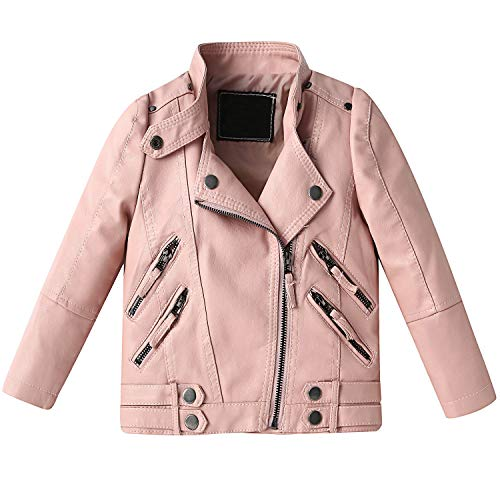 Echinodon Mädchen Bikerjacke Lederjacke Kinder Jacke aus Kunstleder Motorradjacke Pink 140
