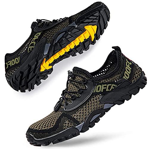 DimaiGlobal Zapatillas de Trekking para Hombres Verano Sandalias Deportivas Pescador Playa Zapatos Casuales Transpirable Zapatilla de Senderismo 43EU Verde