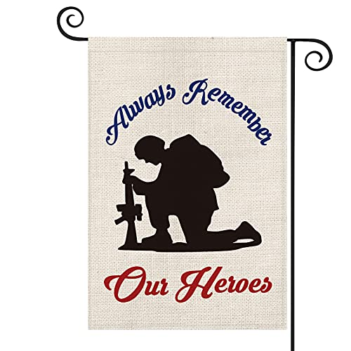 AVOIN Memorial Day Always Remember Our Heroes Garden Flag Vertical Double Sided, Military Soldiers Patriotic Yard Outdoor Decoration 12.5 x 18 Inch