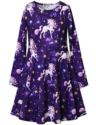 Girls Unicorn Dresses Long Sleeve Kids Starry Sky Casual Cotton Dress Outfits