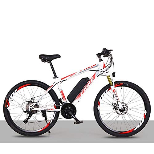 Edman 26 Inch Electric Bike, Lithium Battery Mountain Bike, Adult Variable Speed Off-Road Power Bike, Double Disc Brake. 21speed36V8A36km. Whitered.