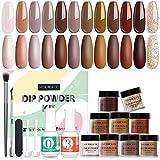 12 Colors Dip Powder Nail Kit Starter,...