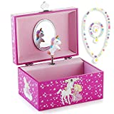 Kids Musical Jewelry Box for Girls and Jewelry Set with Lovely Unicorn Theme - Swan Lake Tune Rose Red