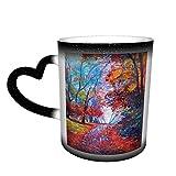 Pintura colorida de hadas del parque, taza que cambia de color del cielo estrellado, tazas de café para el hogar, tazas impresas, regalos para los amantes de la familia, amigos