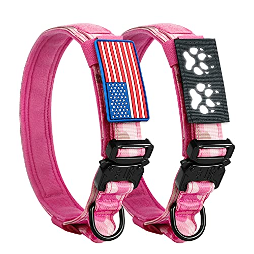 Tactical Dog Collar Pink Camo Military Dog Collar with USA Flag & Reflective Patch, 1.5' Width K9 Collar with Adjustable Heavy Duty Metal Buckle & Control Handle for Training Medium Large Dogs (M)