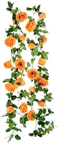 FiveSeasonStuff 2 Pcs Artificial Silk Rose Garland Vine Plant Flower Leaves (4.4m / 173 inches) Perfect for Wall Decoration, Wedding, Bridal(Orange)