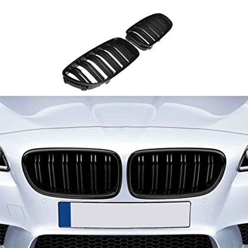 Fgyhty 1 par Frontal del riñón Parrilla para Serie 5 de BMW, Doble listón Serie 5 F10 F18 10-15 Doble Línea del listón Negro Mate Tope Delantero de la Parrilla