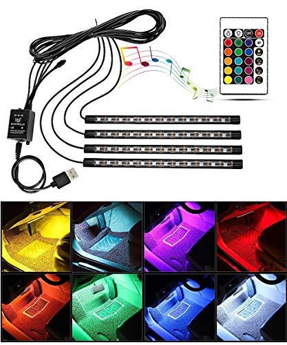 Tira de luz LED para interior de coche, RGBW, barra de luz impermeable con sensor de sonido y control remoto, tira de luz de atmósfera para iluminación de coche