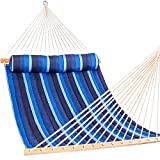Lazy Daze Hammocks 55' Sunbrella Fabric Hammock Double Size Quilted Hammock with Hardwood Spreader Bar and Head Pillow for Two Person, All Weather and Fade Resistant, 450 lbs Capacity (Gateway Indigo)