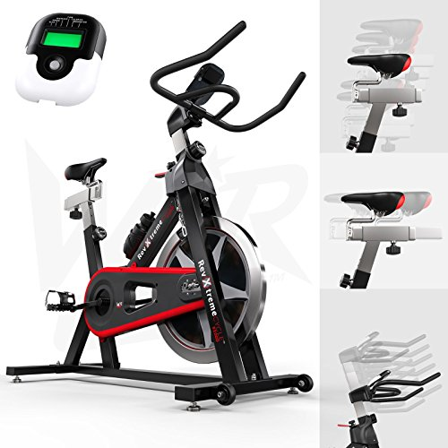WeRSports® Exercise Bike Aerobic Training Cycle Indoor Cycling Machine Cardio Workout - Heavy Duty Frame - Adjustable Handle Bar & Seat Heart Rate Sensors & 6-Function Monitor