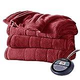 Sunbeam Channeled Soft Microplush Electric Heated Warming Blanket Twin Garnet Red Washable Auto Shut Off 10 Heat Settings