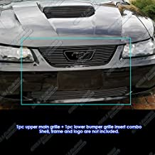 APS Compatible with 1999-2004 Ford Mustang V6 GT V8 Logo Show Black Billet Grille Grill Combo Insert S18-H43776F