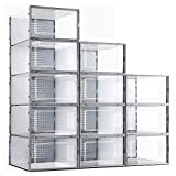 eWonLife Plastic Shoe Storage Box 12 Pack, Stackable, Clear Foldable Shoe Organizer with Lids, Stacking Shoe Container For Women and Men, Bedrooms, Bathrooms, Closet (Need Assembly)