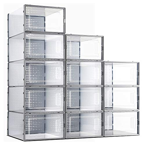 eWonLife Plastic Shoe Storage Box 12 Pack Stackable Clear Foldable Shoe Organizer with Lids Stacking Shoe Container For Women and Men Bedrooms Bathrooms Closet Need Assembly