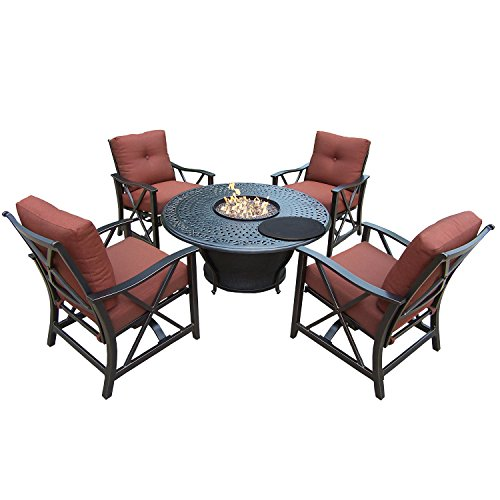 "Review Of 48"" 5 pc. Rustic and Cozy Round Outdoor Deep Sitting Fire Pit Chat Set with Cushions"
