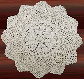 Creative Linens 6PCS 12 Inch Round Handmade Cotton Crochet Lace Doilies with Hearts Beige Set of 6 Pieces For Valentine s Day Mother s Day Wedding Decoration