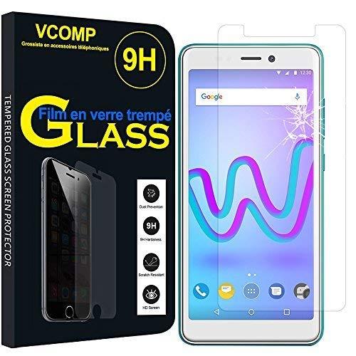"""VCOMP® 1 Film Vitre Verre Trempé de Protection d'écran pour Wiko Jerry3/ Jerry 3 5.45"""" [Les Dimensions EXACTES du Telephone: 148 x 72 x 9.1 mm] - Transparent"""