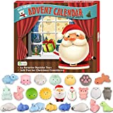 D-FantiX Christmas Advent Calendar 2020 Soft Rubber Toy Christmas Advent Calendars Gift 24Pcs for Kids Kawaii Animals Santas Toys Xmas Countdown Calendar