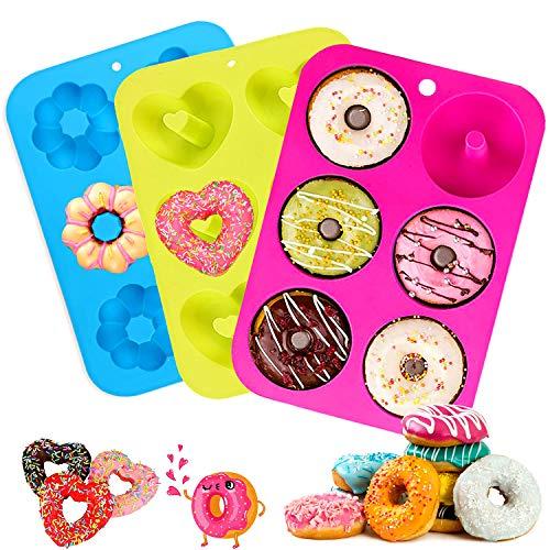 Silikon Donut Formen, 3 Stück Antihaft Donut Backform, 6 Hohlraum Donut Backblech, Donut Mold Kuchenform, 260℃ Hitzebeständig, für Kuchen, Kekse, Bagels, Muffins