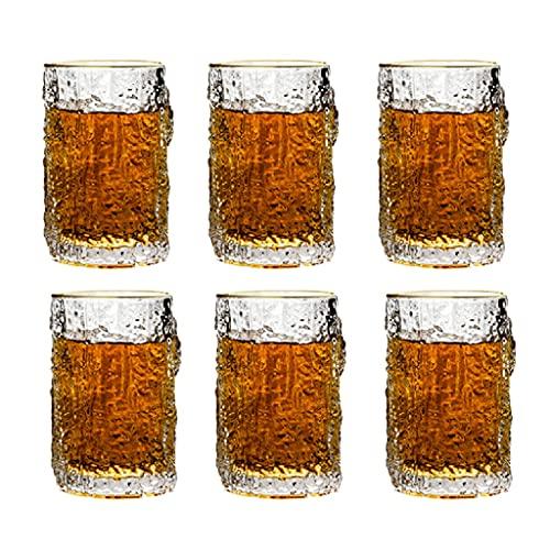 Vaso De Whisky Taza De Té Casera Jarra De Cerveza De Cristal Copa De Vino Creativa Copa De Vino Tinto Neta Copa De Vino Retro Japonesa Adecuado para Bar En Casa (Color : Clear, Size : 300mL*6)