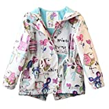 Baby World Baby Toddler Girls Cartoon Trench Coat Graffiti Hooded Zipper Outwear (5-6T, White)