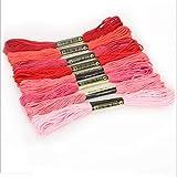 H.Y.FFYH El Hilo de Punto de Cruz Floss 8pcs Mix Colors Punto de Cruz de Coser de Las madejas del Arte del Bordado del Hilo de Coser Hilo Dental Kit de Bricolaje (Color : Rojo, Size : 1)