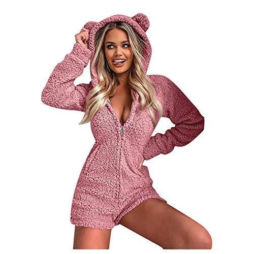 De Pijama De Mujeradultos Monos Cálidos Otoño Invierno Sexy con Capucha Oreja De Conejo Fleece Mujeres Terciopelo Ropa De Dormir Mono Corto Pijamas