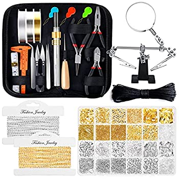 Jewelry Making Kits for Adults Shynek Jewelry Making Supplies Kit with Jewelry Making Tools Earring Charms Jewelry Wires Jewelry Findings and Helping Hands for Jewelry Making and Repair