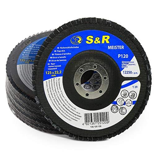 S&R Fächerschleifscheibe P120 125x22,2*120 für Schleifen von Stahl und Holz, T29, 5 Stk., für Winkelschleifer