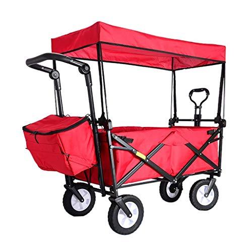 HAOSHUAI Lagerwagen Folding Tragbares Einkaufswagen Garden Trolley Wagen mit Vordach, Heavy Duty Wagon Kindergepäckwagen for Outdoor-Camping-Push-Pull-Cart, Belastung: 80 kg, Schwarz (Color : Red)