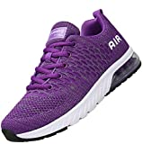 Mishansha Lightweight Ladies Walking Shoes Damping Air Cushion Athletic Running Jogging Sports Trainers Comfortable Elastic Sweat Absorbing Lace Up Sneakers Indoor Outdoor, Purple 7.5