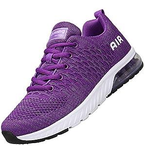 Mishansha Mujer Hombre Zapatos Casuales Amortiguadores Transpirable Malla Zapatillas Clásicas Suave Ventilada Sneakers Resistente al Desgaste Estable Running Calzados, Morado 38