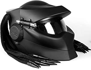 PANLIS Motorcycle Warrior/Full Face Predator Helmet DOT/ECE Certified Flip Open Anti-Fog Helmet Personality Hair Braiding and LED Lights,L