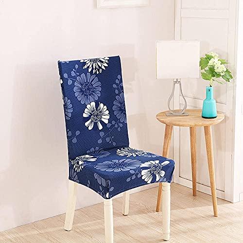 JIAYOUFC Stuhlhussen Stuhlbezüge für Esszimmerstühle 6 Royal Blue Cream Stuhlbezüge Spandex Esszimmerstuhlbezüge Stretch Abnehmbare waschbare Esszimmerstuhlbezüge, Easy Fit Moderne Sitzbezüge mit Gum