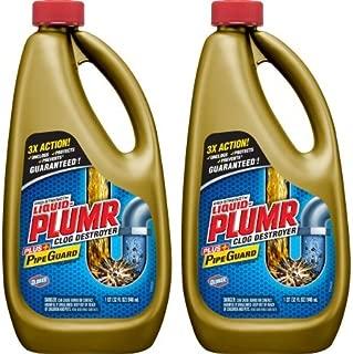 Liquid-Plumr Pro-Strength Full Clog Destroyer Plus PipeGuard, 32 Ounce Bottles - 2 Pack