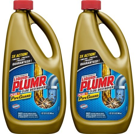 Liquid-Plumr Pro-Strength Full Clog Destroyer Plus PipeGuard, 32 Ounce Bottles - 2 Pack