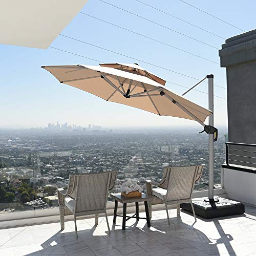 PURPLE LEAF 365 cm Doppio Top Rotondo Deluxe Ombrello da Patio Ombrello da Appendere Offset Ombrellone da Giardino, Beige