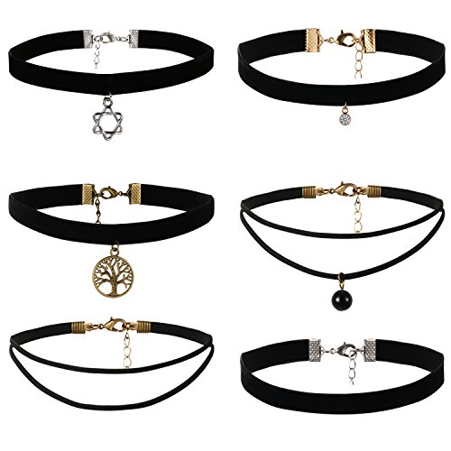 JewelryWe 6 Piezas de Gargantillas Negra de Terciopelo, Collares para Mujer Jóven, Blanco Choker Gótica Retro Vintage, Tatuaje Collar Estrella