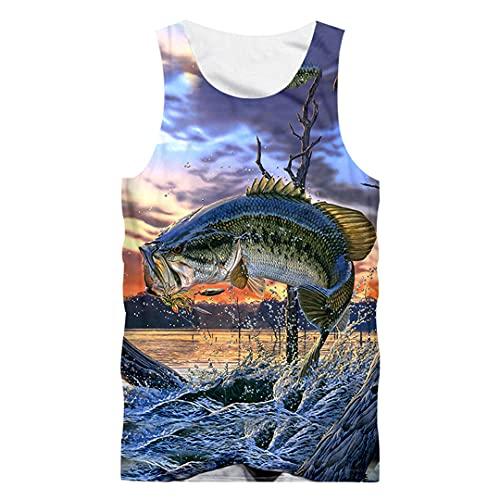 JCNHXD Gilet de musculation pour hommes Gymnases Slim Fit 3D Print Fish Tank Tops Streetwear Débardeurs de grande taille Fish Xl