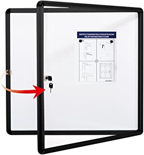 Swansea Lockable Bulletin Boards Black Frame Enclosed Display Case,with Magnets,for School Message Notice 28x26inch(6XA4)
