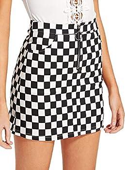 WDIRARA Women s Elegant Mid Waist Above Knee O-Ring Zipper Plaid Mini Skirt Black S