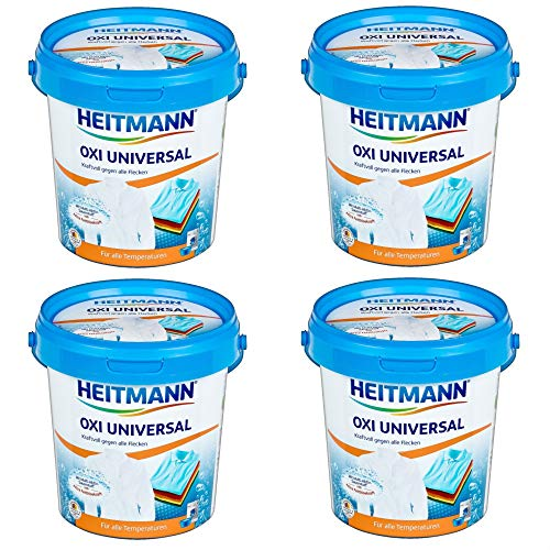 Heitmann Oxi Multi Fleckenentferner: Universal Fleckenlöser für weiße und bunte Textilien, Fettlöser, 4 x 750g