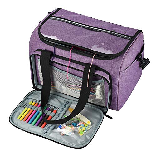 lingzhuo-shop Bolsa de Lana para Tejer Ovillos Organizador Ganchillo y Punto para Crochet Labores de Punto Knitting Bag Bolsa para Hilo con Interior Espacioso, Fácil de Transportar,Púrpura