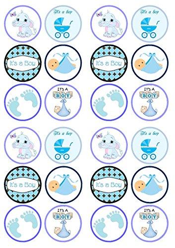Its A Boy Mix, Der eine junge Mischung, Taufe, Babyparty, Essbare PREMIUM Dicke GEZUCKERTE Vanille, Wafer Reispapier Cupcake Toppers/Dekorationen
