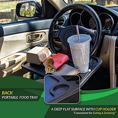 EcoNour 2 in 1 Car Steering Wheel Desk   Food Tray for Car   Steering Wheel Lap Desk for Car   Travel Car Accessories   Car Stand Trays for Eating   Multipurpose Car Steering Wheel Desk Tray Table
