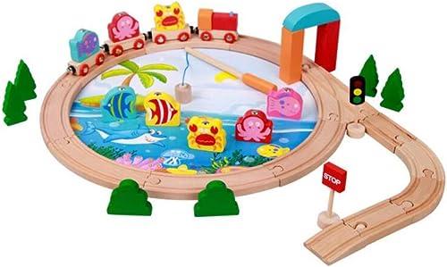 GLJJQMY Scène De Pêche Magnétique en Bois éducative pour Enfants avec Petit Train 40 Pièces De Construction De Rails De Couture Jouets Jouets éducatifs pour Enfants