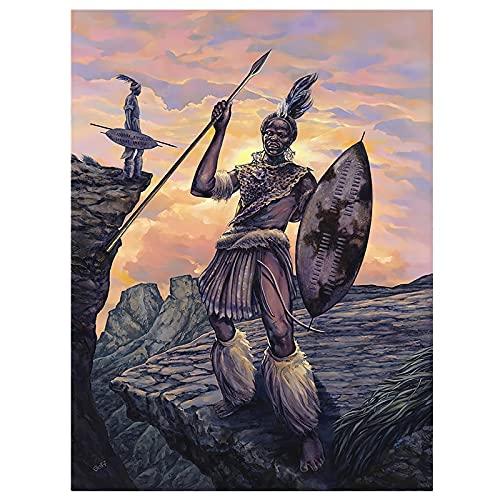 CHBOEN Toile de peinture Indiens toile peinture peinture africaine sauvage arts affiches d'art et imprimerie murage murage moderne salon décoration (Color : A, Size : 30X40cmNo Frame)