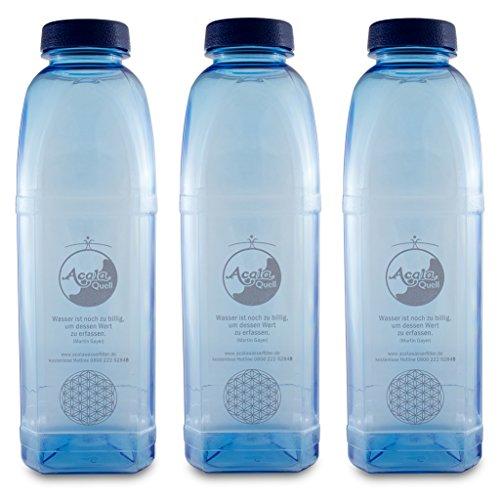 AcalaQuell Wasserfilter Tritan Trinkflaschen 8-Kant 1,0 Acala Sparset mit Blume des Lebens