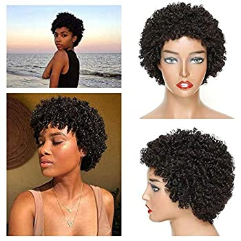 Rebasar Short Afro Kinky Curly Hair Wigs Wear on and Go Wigs for Black Woman Human Hair Machine Made Glueless Short Bob Wig Brazilian Virgin Human Hair Curly Wigs Natural Black Color